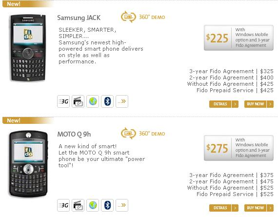 Fido Samsung BlackJack Motorola Q9