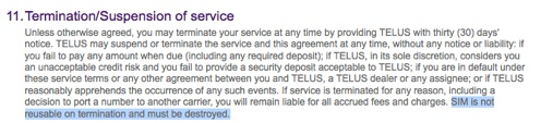 how to cancel telus mobility service