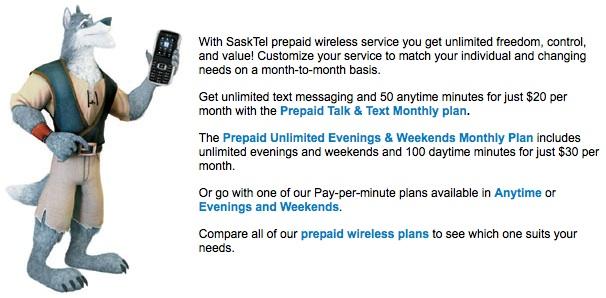 SaskTel using Big Bad Wolf to promote Prepaid