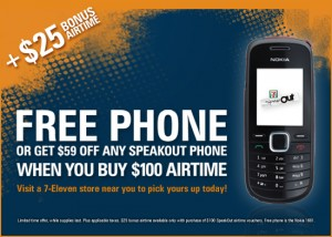Buy $100 of airtime, get a free Nokia or $59 off a SpeakOut device