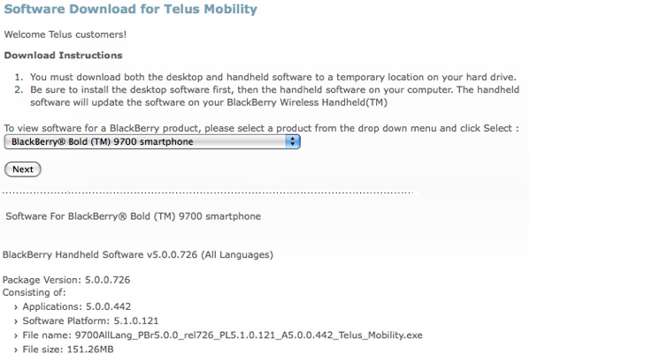 TELUS BlackBerry Bold 9700 OS 5 0 0 442 now available for
