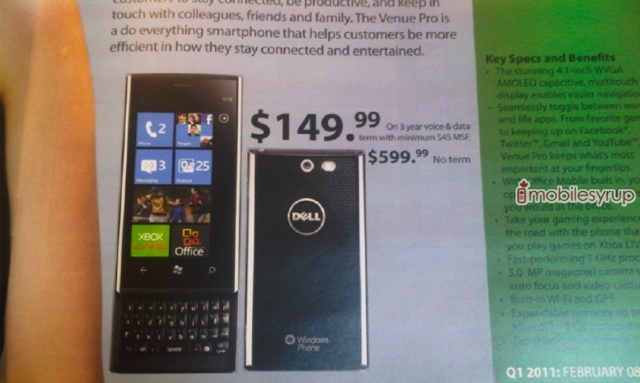 Rogers Dell Venue Pro upcoming price plans (Windows Phone 7)