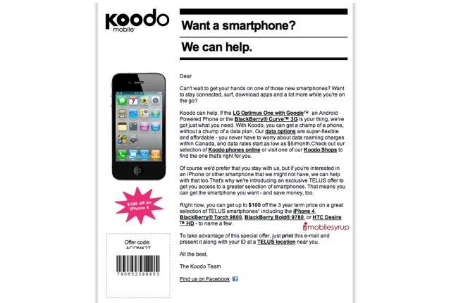Koodo Mobile promo offers $100 off TELUS smartphones