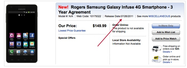 Rogers releasing the Samsung Galaxy S Infuse 4G on July 26th