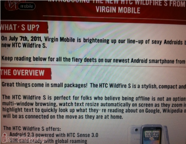 Update: Virgin Mobile launching HTC Wildfire S on July 7th