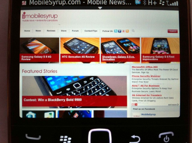 Review blackberry bold 9900 mobilesyrup rim claims that with os7 and the 9900 web browsing is now 40 faster than blackberry 6 based smartphones and up to 100 faster than blackberry 5 based reheart Images