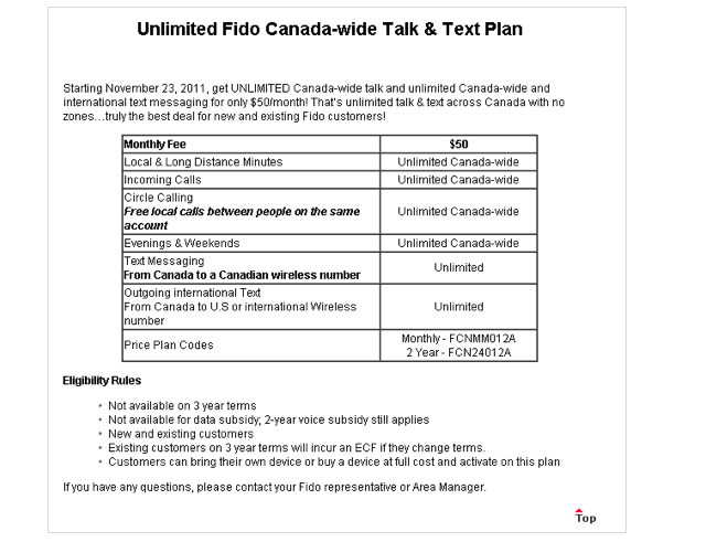 Fido releases $50/month Canada-wide Unlimited Talk and Text