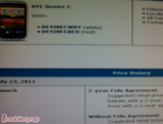 Fido To Release The Htc Desire C On July 23rd Will Be