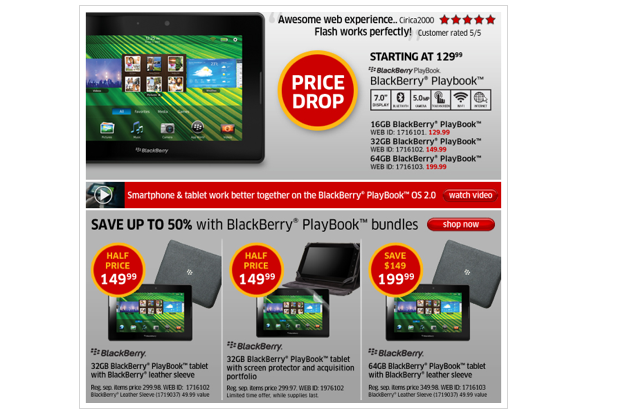 Deal: 64GB BlackBerry PlayBook sinks to $199 99, comes