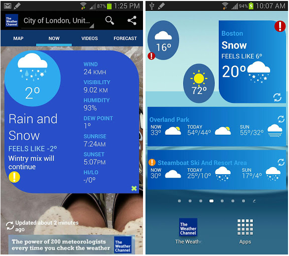 The Weather Channel for Android gets nice redesign and tablet