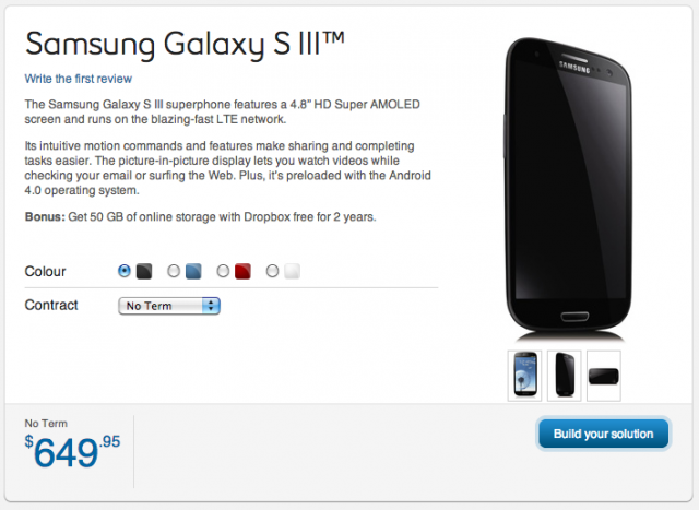 Update: Bell Samsung Galaxy S III in Black now available