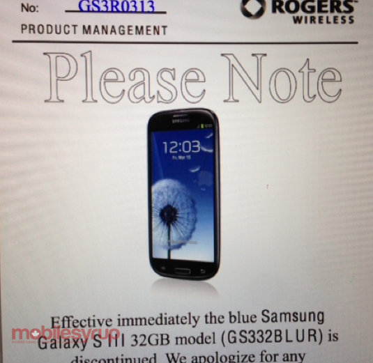 Rogers discontinues the 32GB Samsung Galaxy S III in Pebble Blue