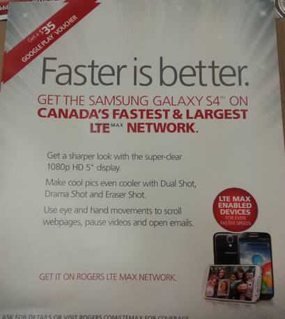 Rogers offering a $35 Google Play Gift Card with Galaxy S4 purchases