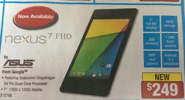 New Nexus 7 hitting Staples on July 31st for $249