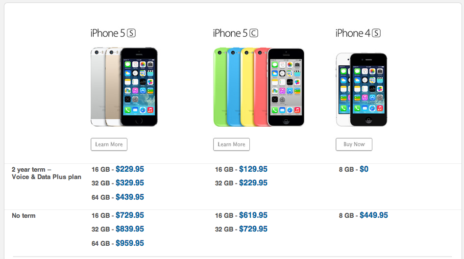iphone 5c without contract here s the iphone 5s 2 year contract pricing in canada 8370