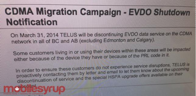 TELUS aims to shut down its CDMA network in 2015