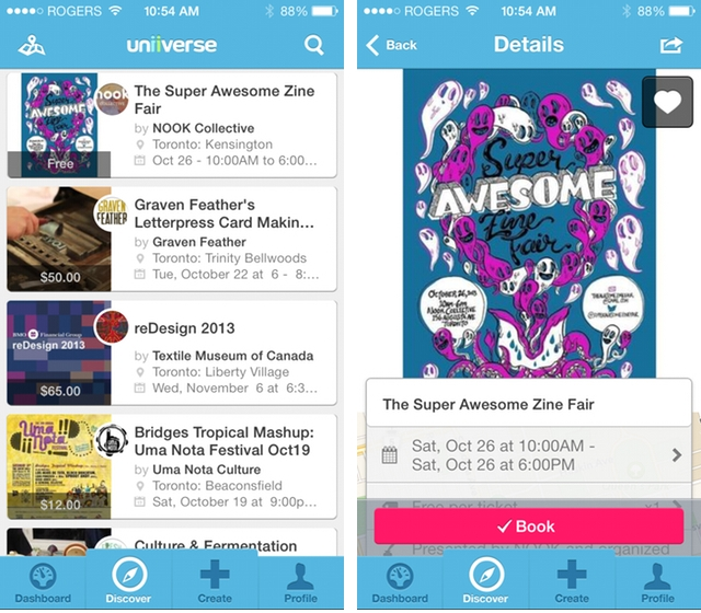Uniiverse for iPhone curates nearby events that matter