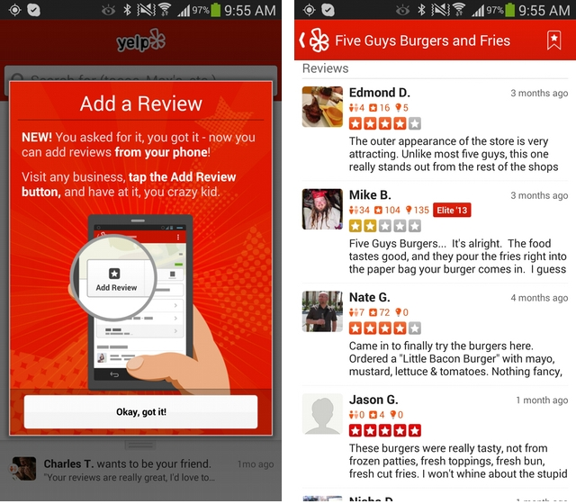 Yelp for Android now lets you publish reviews from mobile