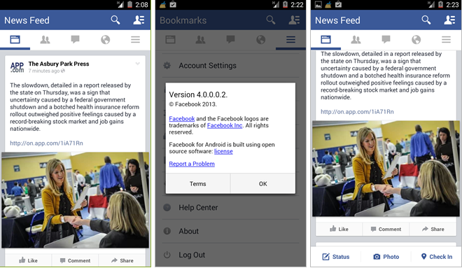 Facebook testing modern new look for its Android app