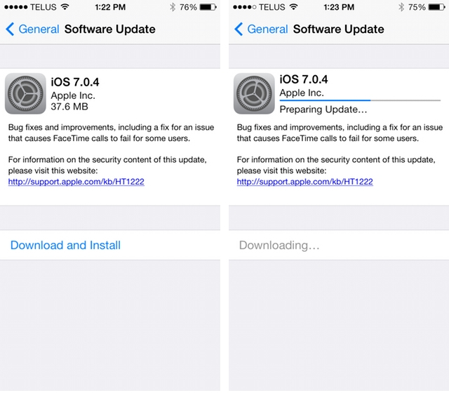 Apple releases iOS 7.0.4 with FaceTime call fix
