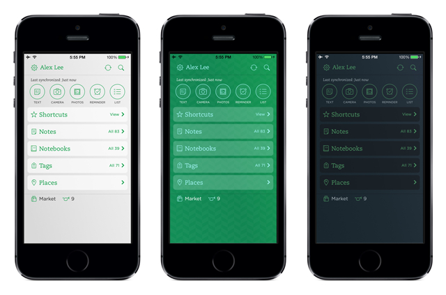 Evernote for iOS now more customizable, less green