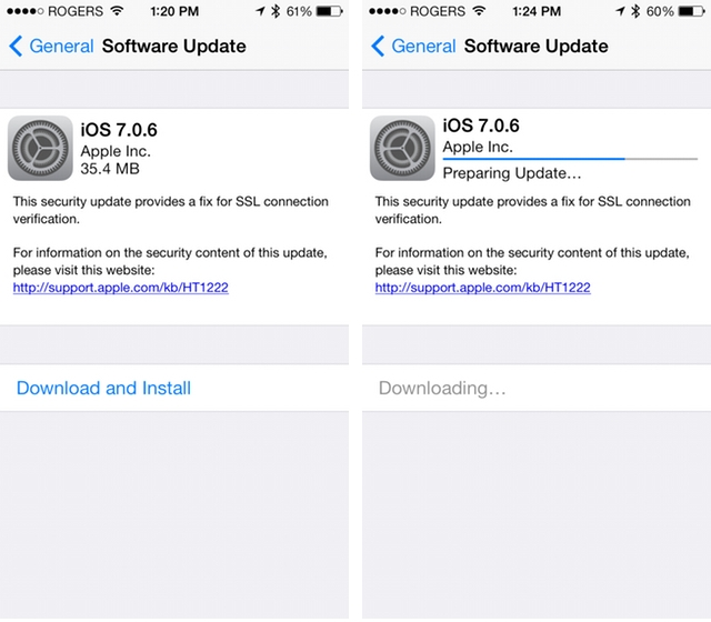 Apple releases iOS 7 0 6, fixes SSL connection issues and