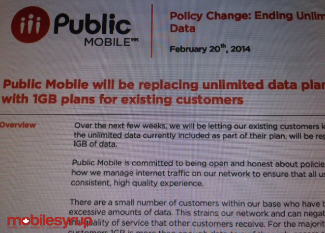 Public Mobile to end Unlimited Data option, will now offer 1GB per month