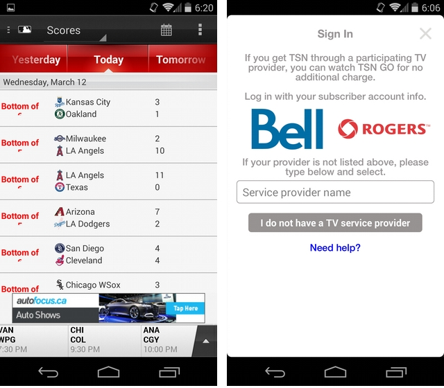 TSN GO offers live streaming to Rogers and Bell TV customers