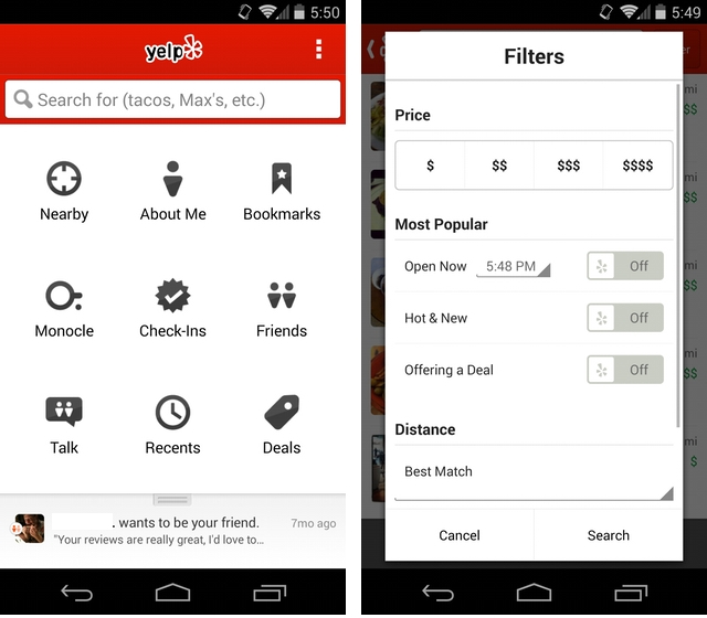 Yelp improves its Android app with new search filters