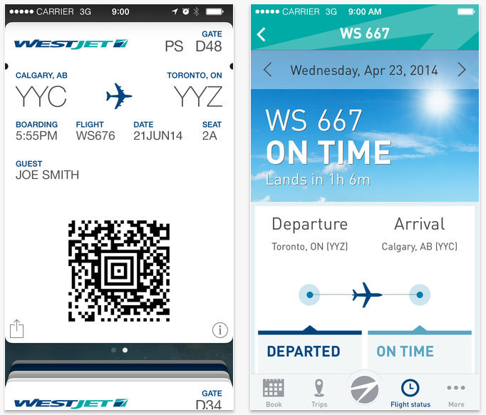westjet app for iphone with passbook support now available mobilesyrup. Black Bedroom Furniture Sets. Home Design Ideas