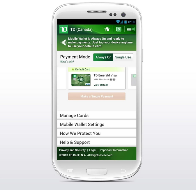 TD Canada Trust Adds NFC-based Mobile Payments To Its