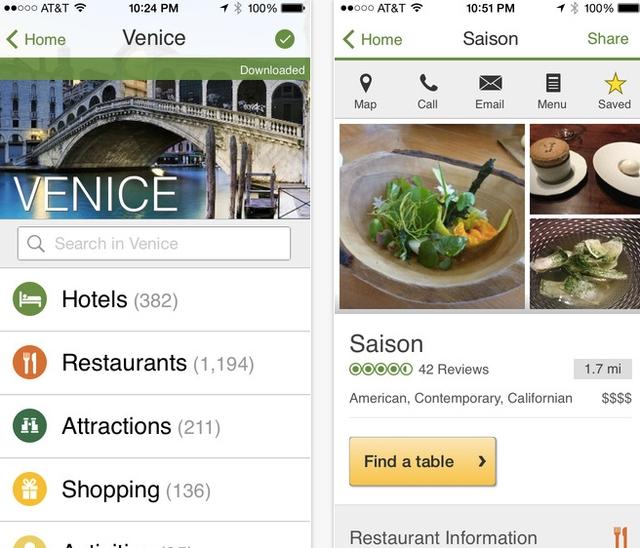TripAdvisor iOS app