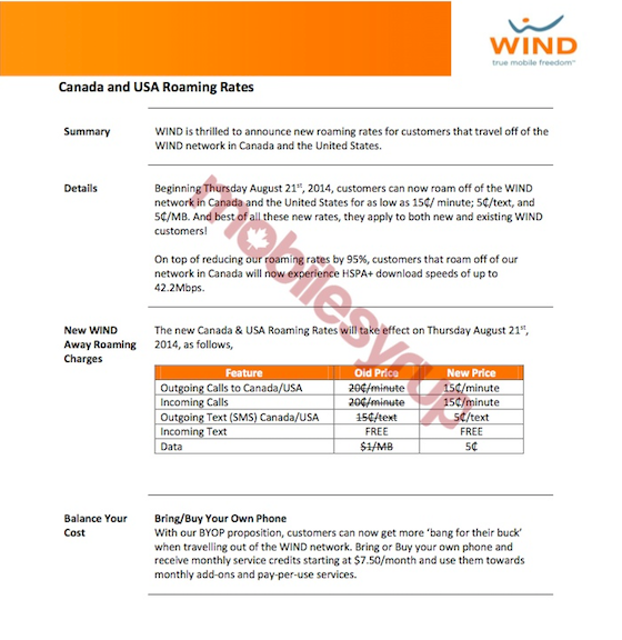 Wind Mobile dropping rates for users roaming in USA and Canada, will