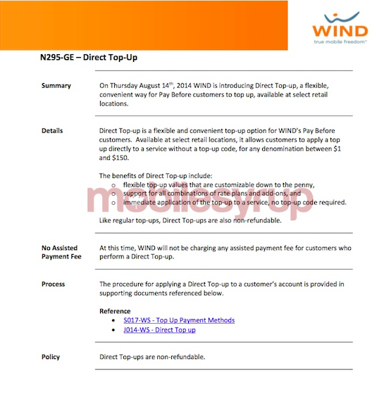 Wind mobile launching in store direct top up today for Wind mobile family plan