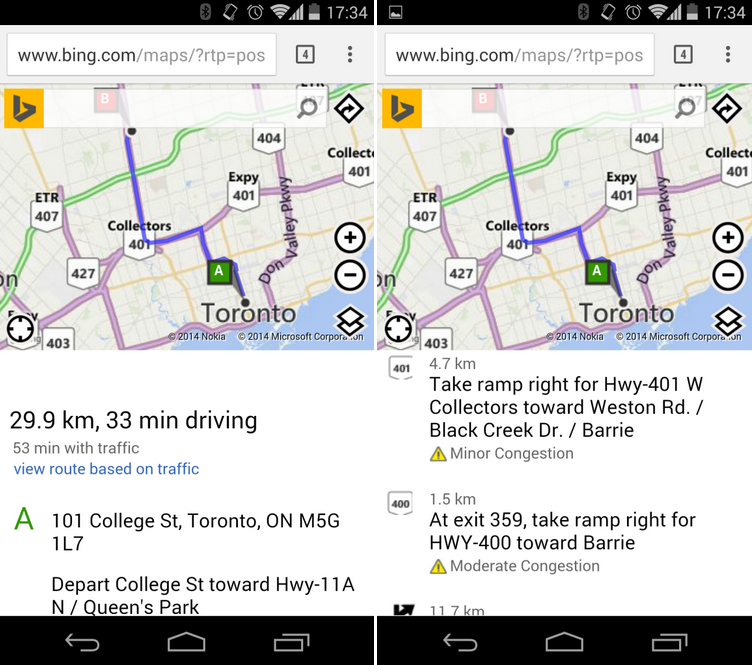 Bing Maps gets traffic-based routing in Canada