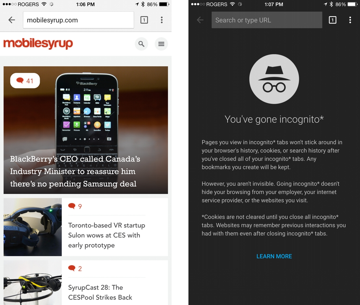 Google Chrome for iOS goes Material with new design ...