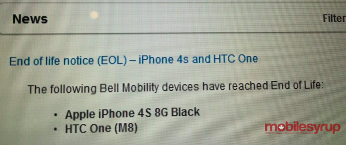 htc one m8 bell eol