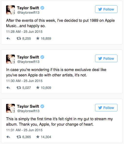 Taylor Swift's '1989' will be on Apple Music, says it 'felt right