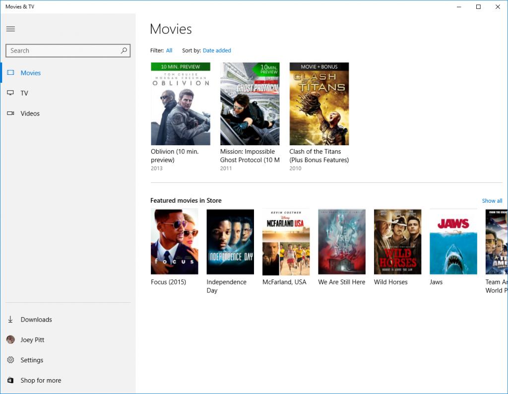 Microsoft Movies and TV