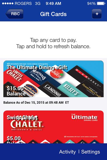 RBC Giftcard sharing
