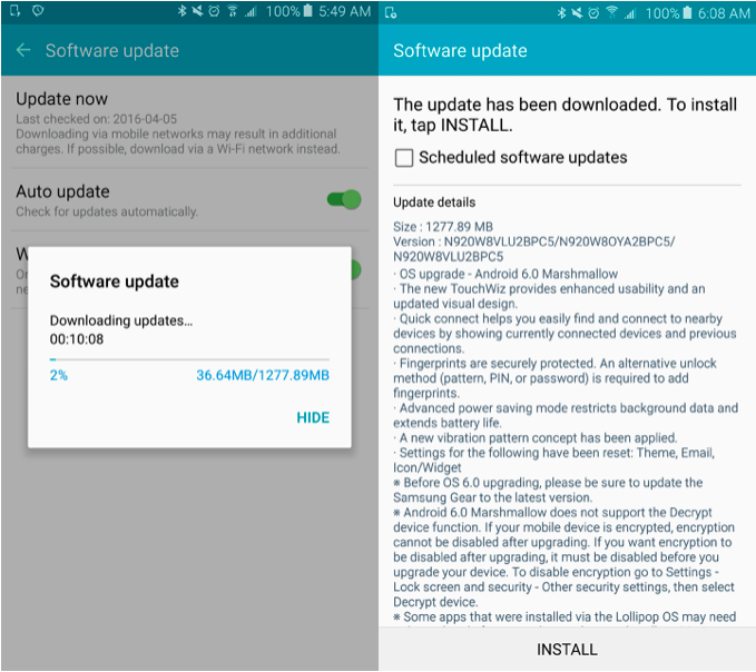 telus marshmallow update note 5