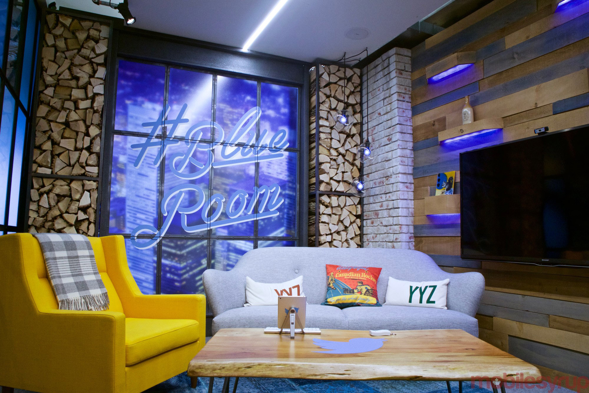A relatively recent addition to Twitter Canada's office, the #BlueRoom is a fixture in many of Twitter's global offices. According to a company spokesperson, the room is used for hosting VIPs and influencers. On Monday, it hosted its first guest, the Blue Jays' Jose Bautista.
