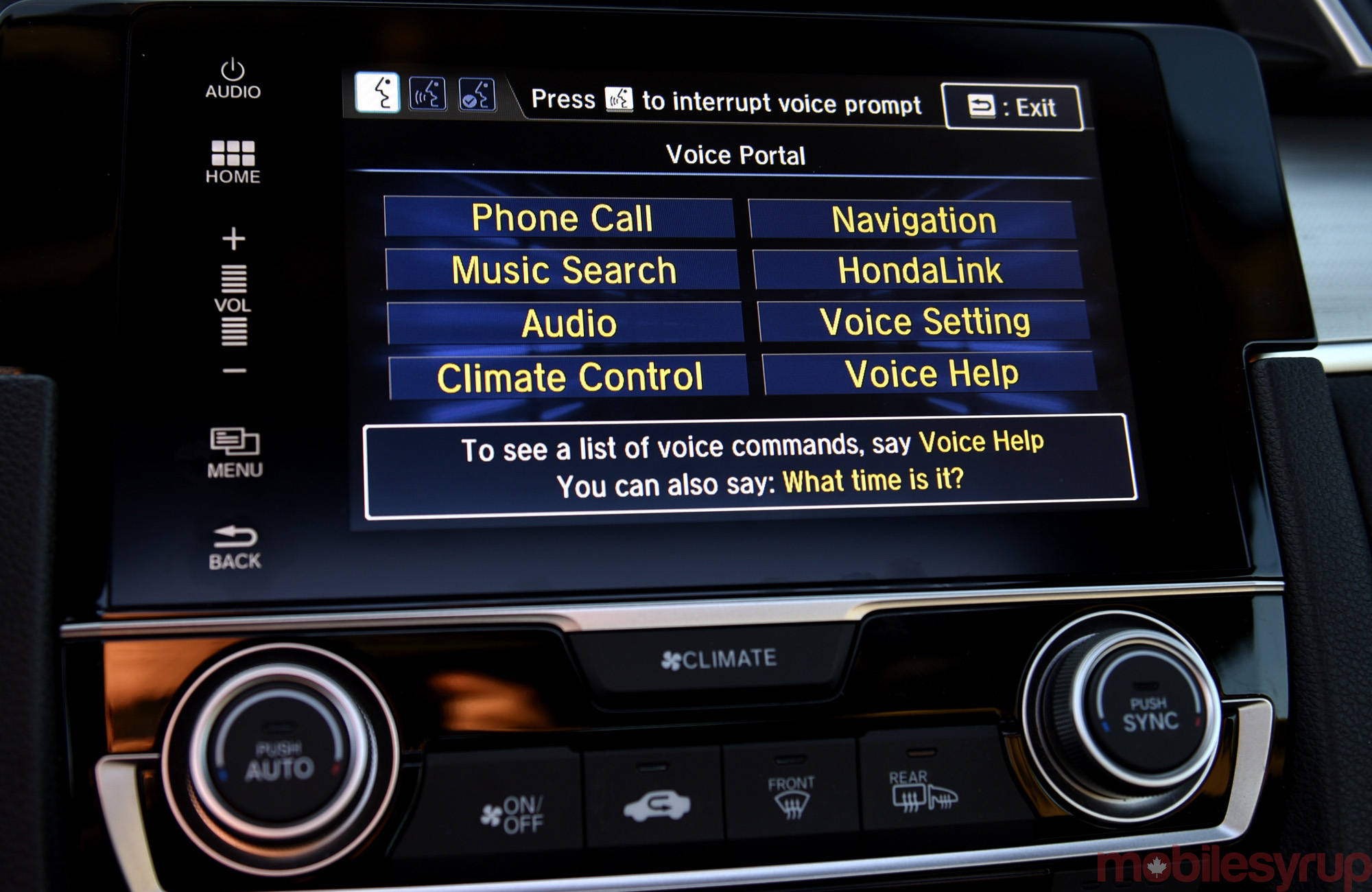 HondaLink voice menu