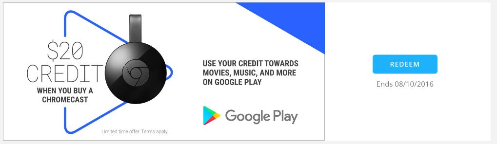 chromecast 20 google play credit canada