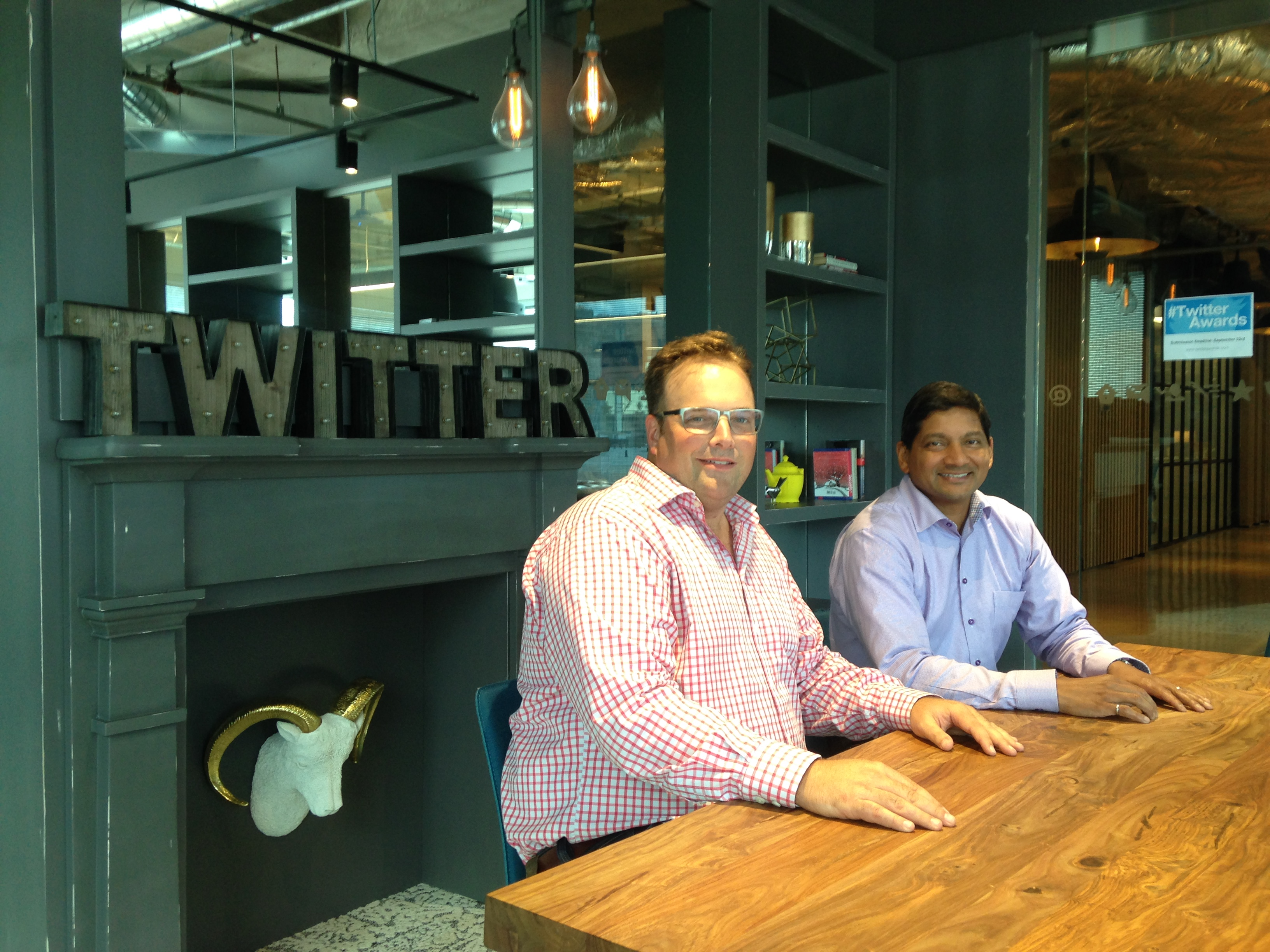 Rogers Chief Customer Officer Deepak Khandelwal (right) with Twitter Canada Managing Director Rory Capern.