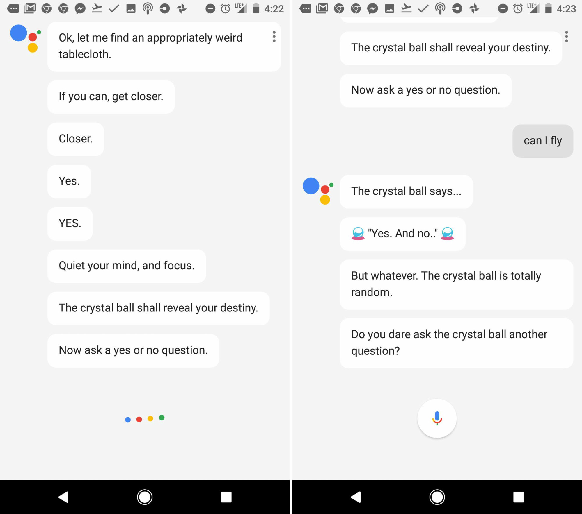 google assistant crystal ball