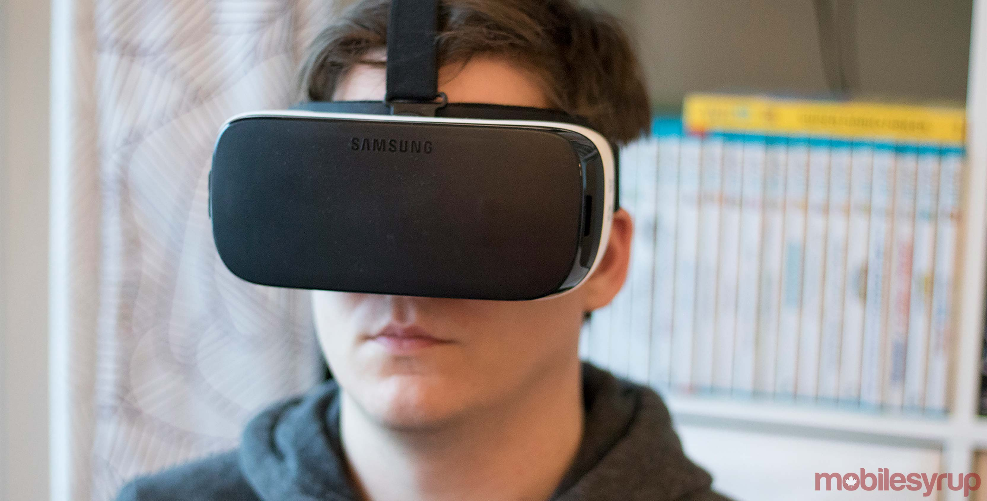 Samsung Gear VR on head