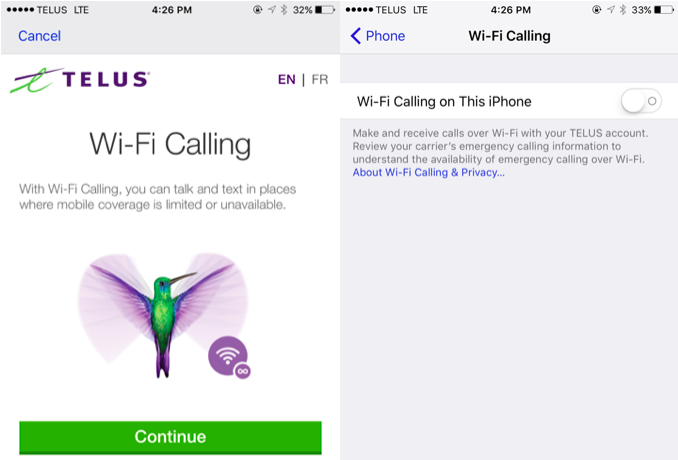 telus wificalling