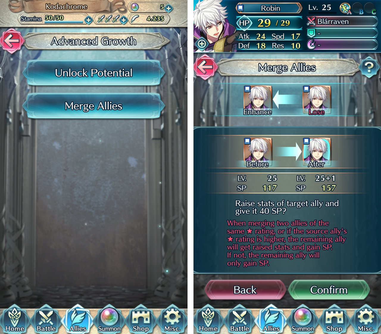 Fire Emblem Heroes hero merging screen