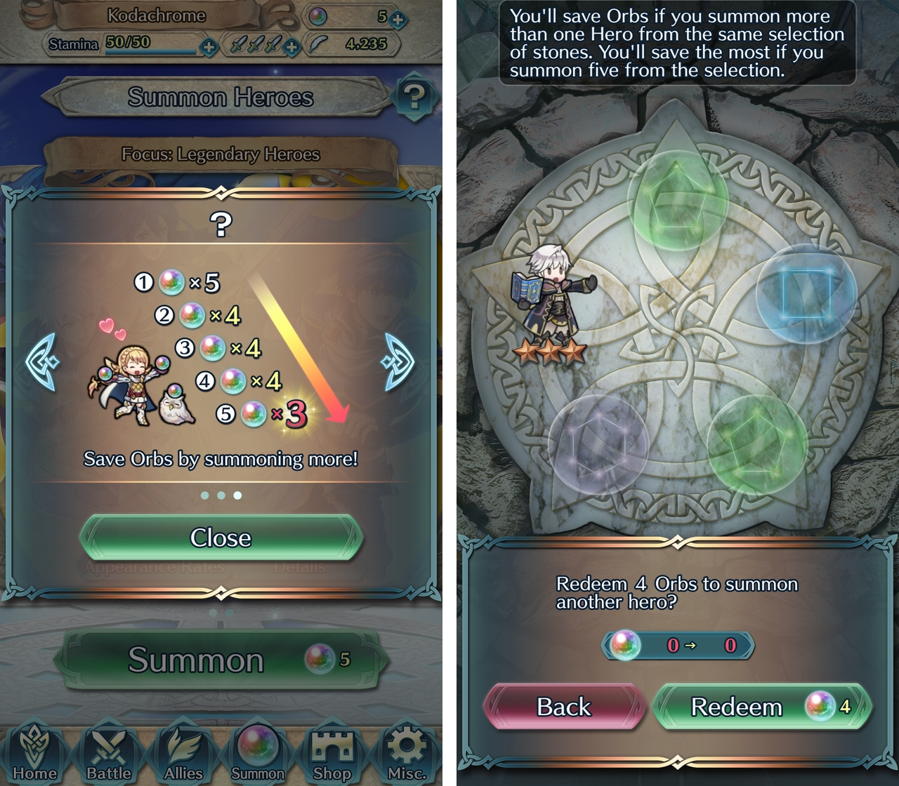 Fire Emblem Heroes summoning screen